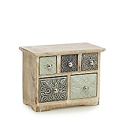 Debenhams - Aqua wood ceramic five drawer chest