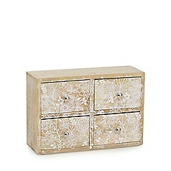 Debenhams - Natural wood floral four drawers chest