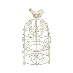 Debenhams - Cream metal birdcage tea light holder