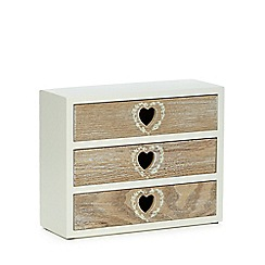 Debenhams - Cream wooden heart cutout drawers