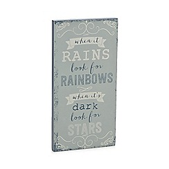 Debenhams - Grey 'When it rains' slogan wall art