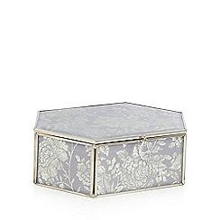 Debenhams - Lilac glass floral hexagon trinket box