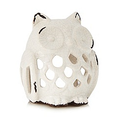 Debenhams - Cream porcelain owl tea light holder