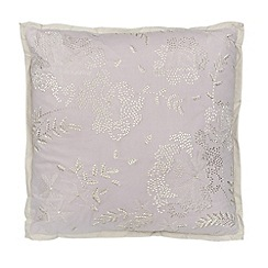 Debenhams - Lilac floral embroidered cushion
