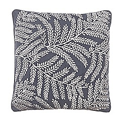 Debenhams - Dark grey embroidered leaf cushion
