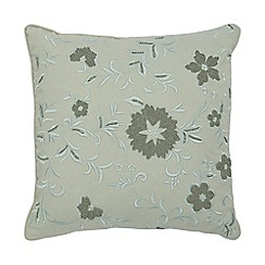 Debenhams - Aqua green embroidered floral cushion