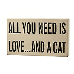 Heaven Sends - 'All You Need is Love and a Cat' sign