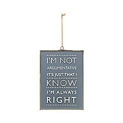 Parlane - Black 'Always right' sign