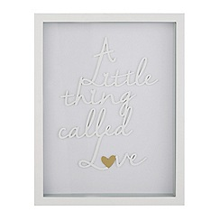 Home Collection - 'Cosmo' White 'Little thing called love' wall art