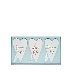 Home Collection - Pack of 3 white ceramic slogan print heart signs