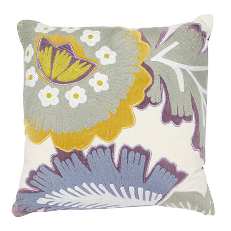 Debenhams - Purple appliqued floral cushion