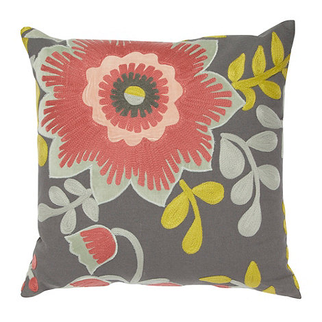 Debenhams - Dark grey floral applique cushion