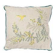 Green fern embroidered cushion