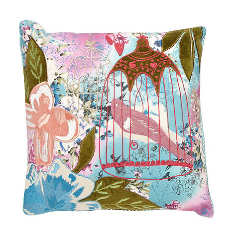 Debenhams - White appliqued bird cage cushion