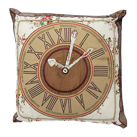 Debenhams - Chocolate embroidered clock cushion