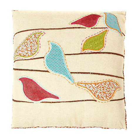 Debenhams - Beige appliqued bird and branch cushion