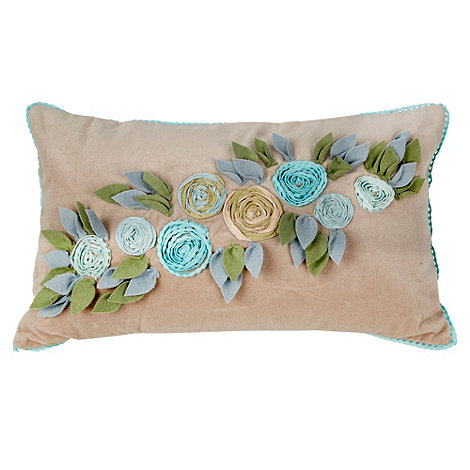 Debenhams - Taupe velvet floral applique cushion