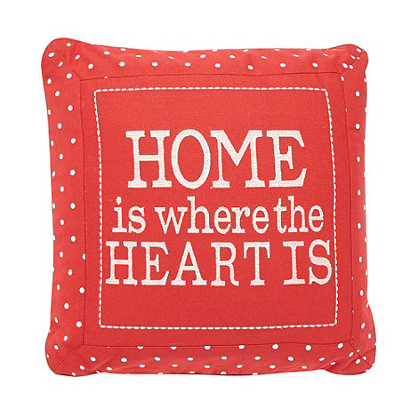 Debenhams - Red +Home is where the heart is+ cushion