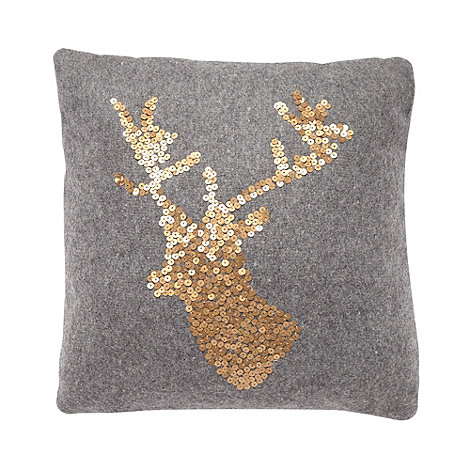 Debenhams - Grey mini stag cushion