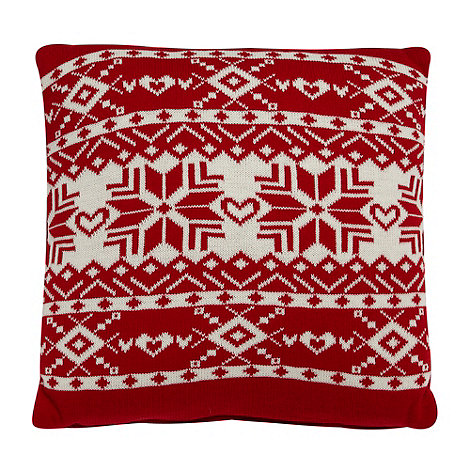 Debenhams - Red knitted Christmas snowflake cushion