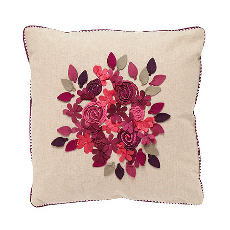 Debenhams - Natural applique flower cushion