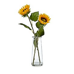 Debenhams - Glass vase of artificial sunflowers