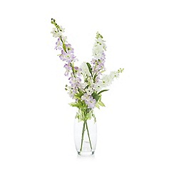 Debenhams - Glass vase of artificial delphiniums