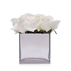 Home Collection - Glass cube vase of artificial roses