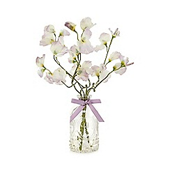 Debenhams - Glass bottle vase with artificial sweet pea flowers