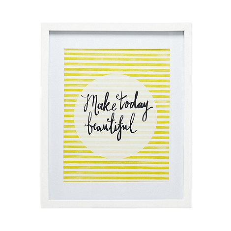 Home Collection Basics - Yellow +Make Today Beautiful+ slogan print wall art