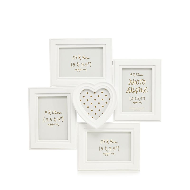Home Collection White five aperture photo frame