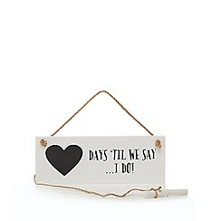 Sass & Belle - White 'Days 'til we say... I do!!' print chalkboard