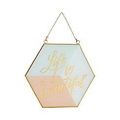 Home Collection - Glass and metal 'Life Is Beautiful' sign