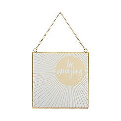 Home Collection - Gold glass and metal 'Cosmo - Be Amazing' sign