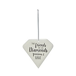 Home Collection - White ceramic diamond sign