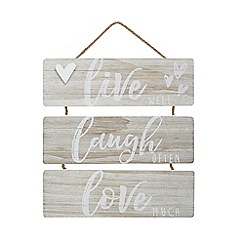 Home Collection - Washed wood 'Live, Laugh, Love' hanging sign
