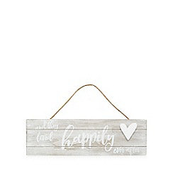 Home Collection - Washed wood 'Happily Ever After' hanging sign