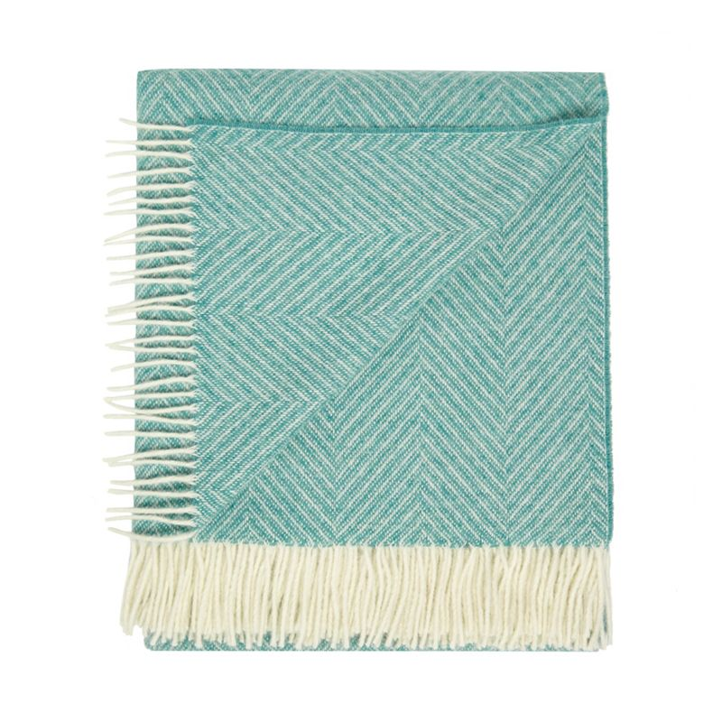 Bronte by Moon Green merino wool herringbone throw