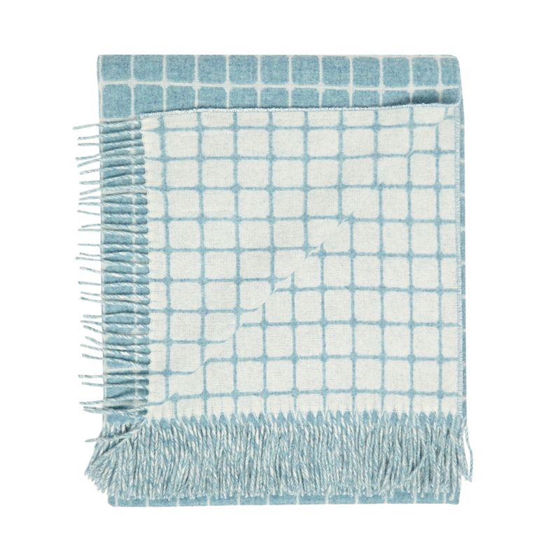 Bronte by Moon Aqua blue lambswool 'Athens' throw