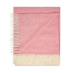Bronte by Moon - Pink merino wool herringbone throw