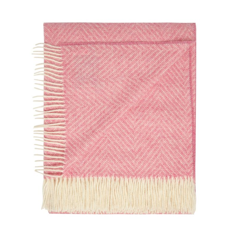Bronte by Moon Pink merino wool herringbone throw