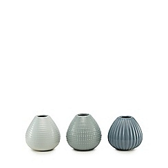 Home Collection - Set of three blue ceramic vases