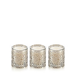 RJR.John Rocha - Set of three metal cutout floral ginger scented candles