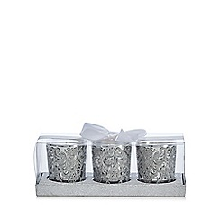 Star by Julien Macdonald - Set of three vanilla scented silver glitter lace votive candles