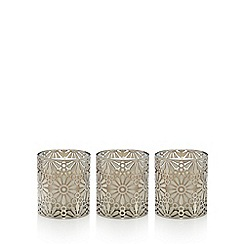 RJR.John Rocha - Pack of 3 silver floral cut out scented votive candles