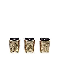 Star by Julien Macdonald - Set of three gold black vanilla scented votives