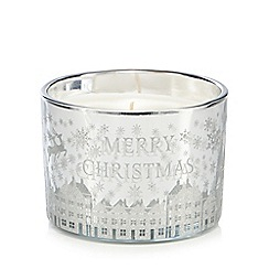 Debenhams - Silver 'Merry Christmas' glitter votive candle