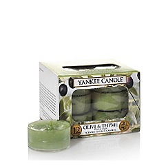 Yankee Candle - Pack of 12 'Olive And Thyme' scented tea light candles