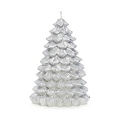 Home Collection - Silver glitter Christmas tree candle
