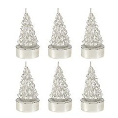 Home Collection - Pack of 6 silver Christmas tea lights